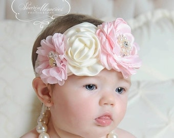 Pink Headband/Baby Headband/Baby Headbands and Bows/Infant Headband/Baby Girl Headband/Girl Headband Baby/Toddler Headband/Baby Romper