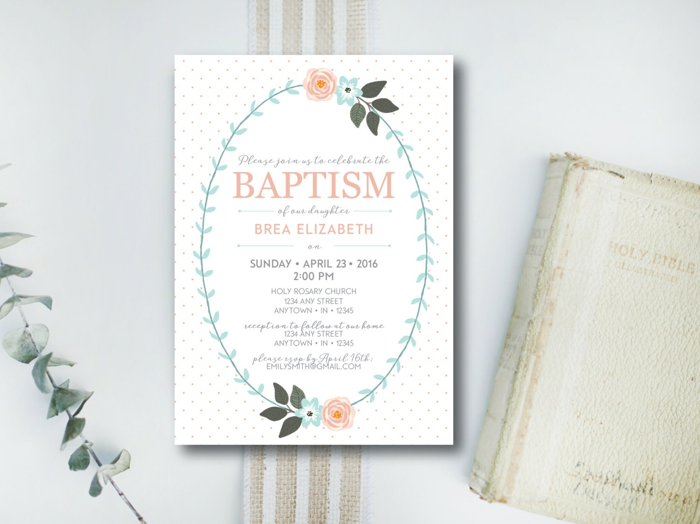 instant download baptism invitation    dedication invitation