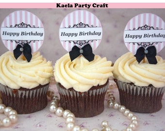 Pink and black cupcake toppers. Pink and black birthday. Pink and black baby shower. Pink and black decoration. Pink and black invitations