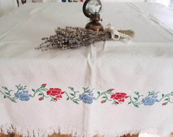 44. Vintage hand embroidered pure linen table cloth, cross stiched tablecloth, cross stitched flowers  from 1950s (unused)