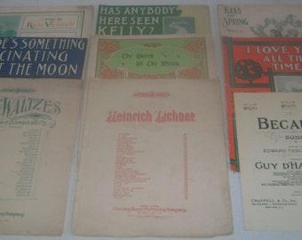 Vintage 1900's (1902-1909) Sheet Music Lot of 9 Pieces, Lyrics, Piano, Waltz