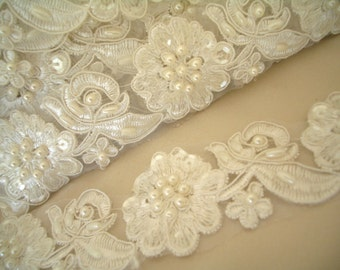 Beaded wedding trim, Ivory Embroidered Floral Lace Trim - wedding dress, hair accessory or veil.