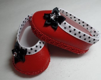 """Red and White -Mary Jane-- Doll Shoes--   for 18"""" American Girl--Shown on my american girl doll"""