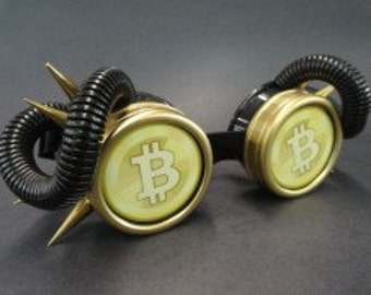 Bitcoin Gold Pimp Goggle Welding, Cyber, Post Apocalypse, Mad Max, Road Warrior, Burning Man, Neo-Victorian, Wild West, Gears