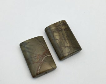 2 Picasso jasper pillow stone beads / 20 mm x 30mm  #PP003-3