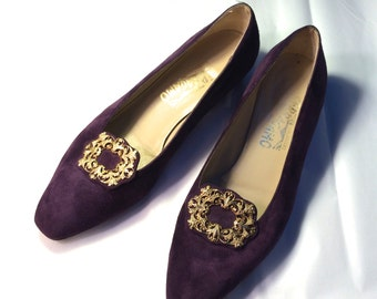 Vtg.Purple Ferragamo Pumps 9-C Ladies