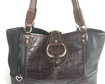 Brighton Large Braided Embossed Pebble Leather Handbag