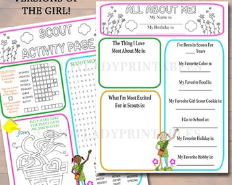 Girl Scouts All About Me & Activity Sheets, Girl Scout Activity Printables, INSTANT DOWNLOAD Troop Leader Forms, Girl Scout Brownies, Daisy