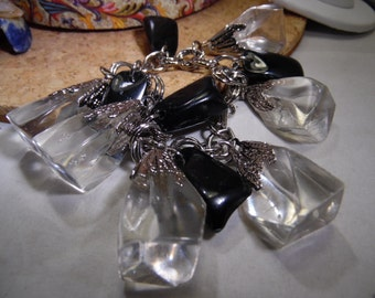 Silver Tone Charm Bracelet with Black and Clear Lucite Nugget Charms