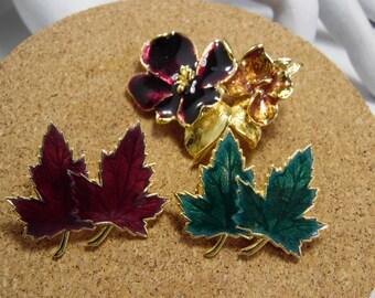 2 Leaf and 1 Flower Enamel Gold Tone Brooch /Pins
