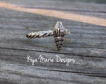 Cone shell shell Ring, triton's trumpet shell, Sterling Silver Argentium Silver Stack Rings, Sea life nautical rings, beach ocean jewelry