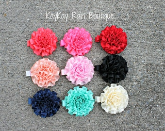 Satin Cabbage Flower Clip in Your Choice of Color - 2 Inch Flower Clip - Girls Flower Clip - Adult Flower Clip - Cabbage Flower Clip