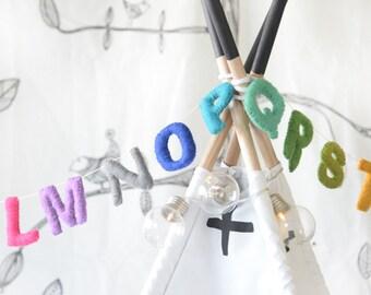 Rainbow ABC Garland. Alphabet Garland. Nursery Wall Decor. Educational Toy. Room Decor. Kids Room. Felt Garland. Home Decor. Bunting.
