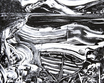 Little Wooden Boat - mounted digital print from an original ink monotype.