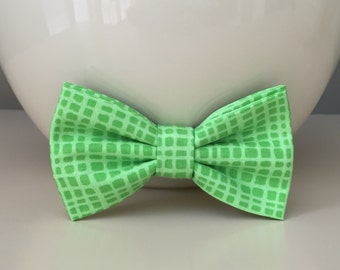 Dog Bow / Bow Tie - Lime Green- Uneven Plaid