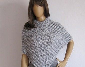 Women Ponchos, Cape Poncho, Cropped Sweater Poncho, Cape