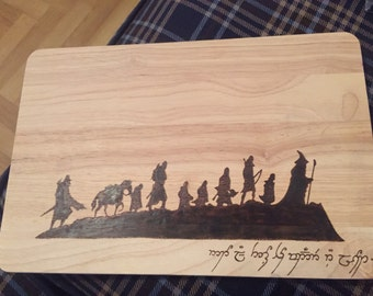 """Hand Burned """"Not All Those Who Wander Are Lost"""" Fellowship of the Ring LOTR Pyrography Chopping Board"""