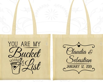 You are My Bucket List (C396) Printed Cotton Canvas Tote, Vintage Wedding Bags, Romantic Bags, Bucket, Welcome Tote Bags