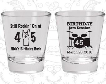 45th Birthday Shot Glass, Still Rockin at 45, Birthday Jam Session, Birthday Shot Glass, Birthday Glass (20069)