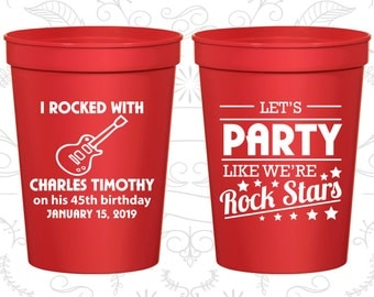 45th Party Favor Cups, Rock Star Birthday, Rock Star Party, Party Favor Cups, Fun Birthday Cups (20176)