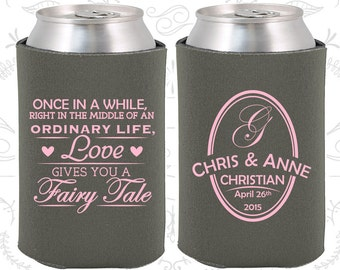 Charcoal Wedding, Can Coolers, Charcoal Wedding Favors, Charcoal Wedding Gift, Charcoal Wedding Decor (480)