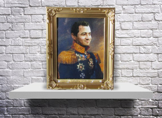 CUSTOM framed regal royal military portrait old fashioned painting Print or Poster from YOUR photo - Choose size, Subject, and Frame