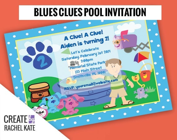 Blues clues birthday pool party personalized printable - Pool and blues ...