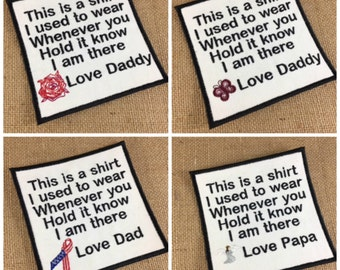 IRON ON Memory Patch - Block Font - 4 Inch Square, This is a shirt I used to wear, In Memory Of, Shirt Pillow Patch, Memory Patch