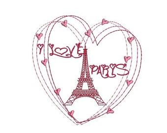 instant download embroidery design Paris with heart eiffel tower