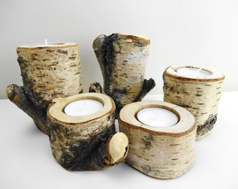 Rustic Candle Holders, Birch Candle Holders, Log Candle Holders, Branch Candle Holders,Rustic Wedding Decor, Set of 5