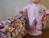 Baby Doll Diaper Bag, Sleeper, Bib, Cap, Diapers, Changing Mat, Diaper Wipe Case, Taggie Blanket for 15 in Doll