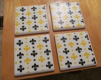 Fleur de lis  Ceramic Coaster Set of 4