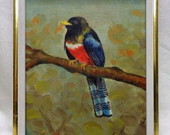 K. Opava Vintage Bird Oil Painting on Canvas w. White & Gold Antique Wood Frame