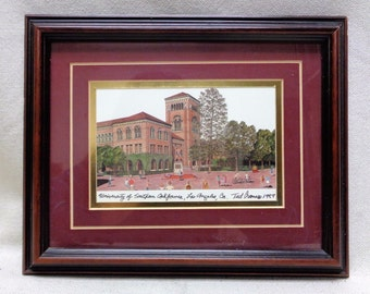 Matted 1989 Ted Crane University of S. California Print w. Vintage Style Frame