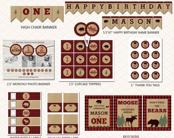 Lumberjack party package, First Birthday Personalized Lumberjack Party Package, Printable, DIY, DIGITAL FILE