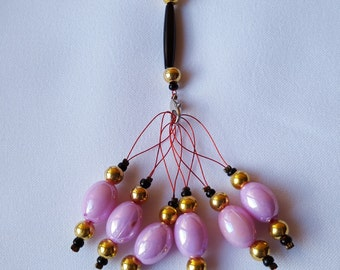 6 x Beaded Stitch Markers with Holder for Knitting - Large