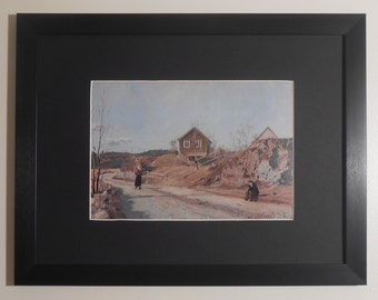 "Mounted and Framed - From Maridalen Print by Edvard Munch - 16"" x 12"""