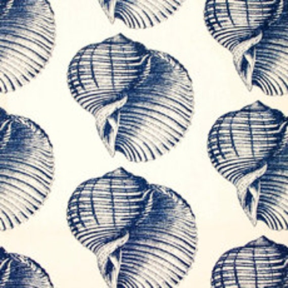 15 Off Blue Seashell Fabric Navy Blue Home Decor Fabric Designer Fabric Upholstery Fabric By The Yard Home Furnishing Home Decor