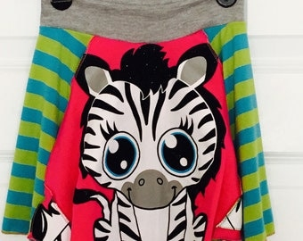 Upcycled Zebra TWIRL SKIRT size 5 6
