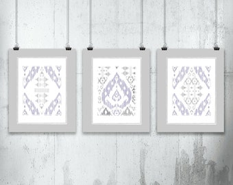 Ikat Design in Lavender and Grey • Art Set of 3 Prints