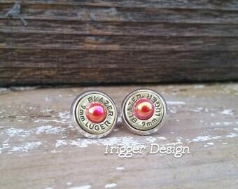 9mm Caliber Bullet Casing Post Earrings- Red Rose Pearl