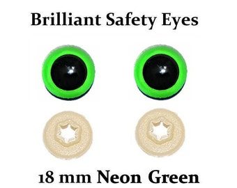 18mm Safety Eyes Neon Green Brilliant with Round Pupil (One Pair)