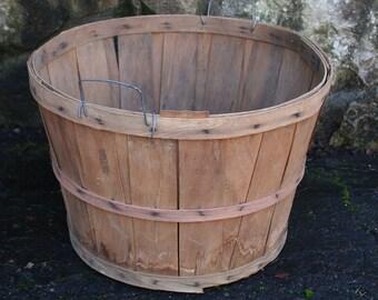 Large Vintage Wood Bushel Apple Basket, Farm Basket