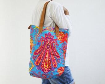 Blue Orange Demask Print Boho Tote Bag Lunch Bag Summer Tote Bag Holiday Tote Bag Canvas Tote Bag Beach Tote Bag Shoulder Bag Canvas Bag