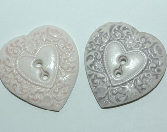 """Heart Buttons. Set of 2. Size 1 3/8"""" Pink & Lilac"""