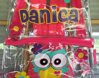 Adorable Clear personalized Owl bookbag Backpack for Back to School