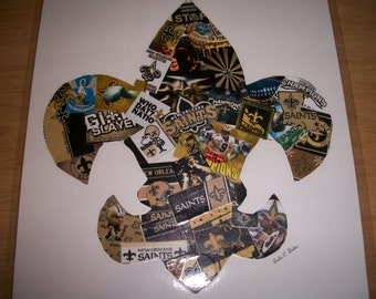 New Orleans Saints football themed Fleur De Lis Collage Handmade