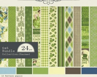 """AUTHENTIQUE Paper, Charmed Collection 6"""" X 6"""" bundle, paper pad, 24 sheets, scrapbooking and paper crafts, St. Patrick's Day Theme"""