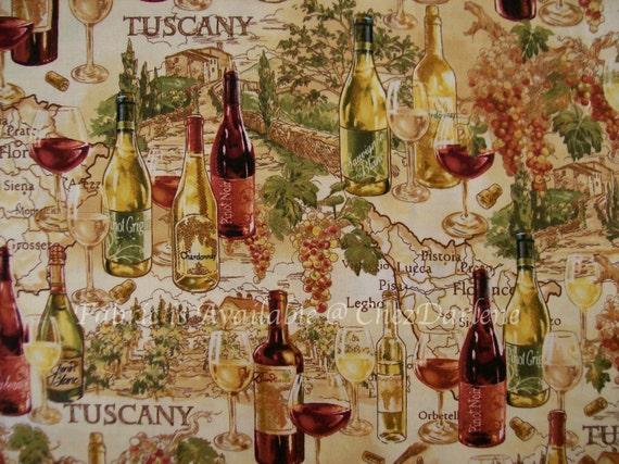 Cotton Fabric Italian Vineyard Scenes From Tuscany Wine
