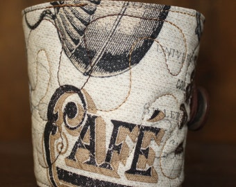 Reusable Coffee Sleeve in Vintage Style Coffee/Tea Fabric